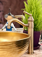 Смеситель для умывальника чаши бронза 3-004