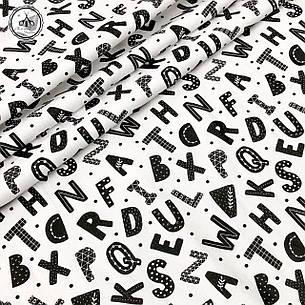"""Польская хлопковая ткань """"буквы черные на белом"""", фото 2"""