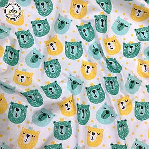 """Польская хлопковая ткань """"мишки мятные, желтые на белом"""", фото 2"""
