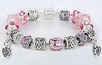 Женский розовый браслет Pandora (Пандора) с 2 сердечками
