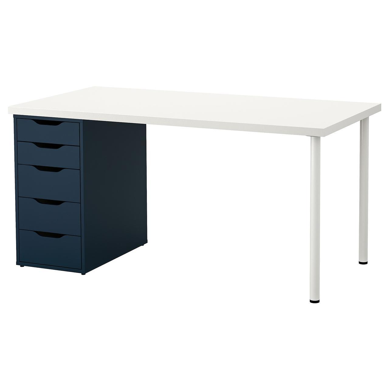 Компьютерный стол IKEA LINNMON / ALEX 150x75 см синий белый 093.039.98