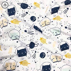 """Польская хлопковая ткань """"кошки в космосе"""", фото 2"""