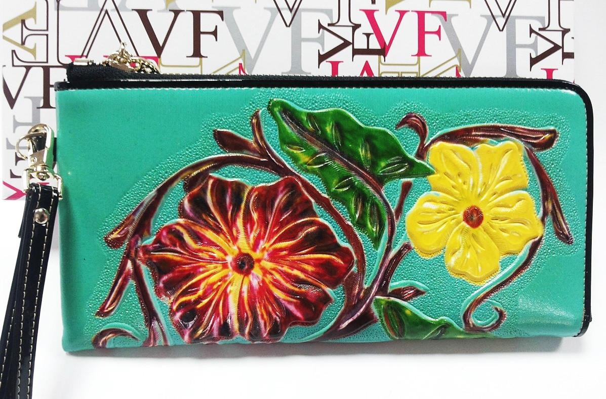 Кошелек кожаный женский цветы бирюзовый Velina Fabbiano 2062-209