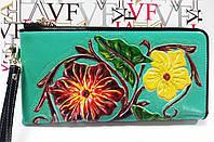 Кошелек кожаный женский цветы бирюзовый Velina Fabbiano 2062-209, фото 1