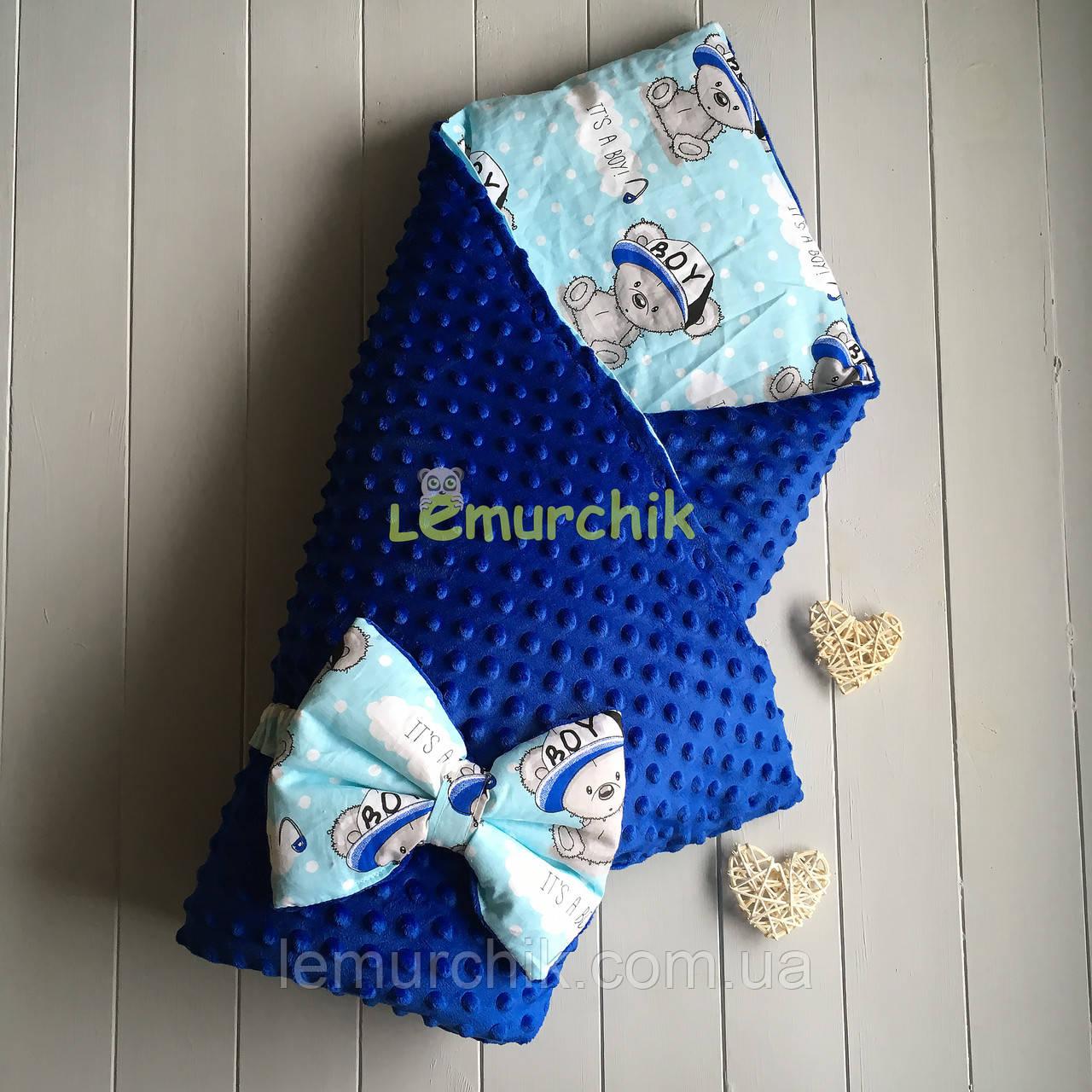 Конверт-одеяло минки на синтепоне синий с мишками