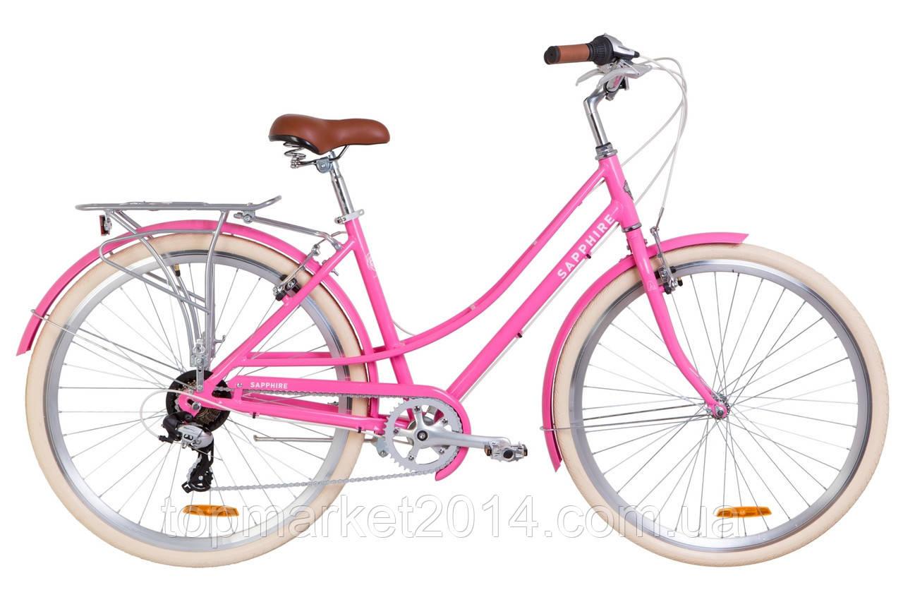 """Жіночий міський велосипед з багажником DOROZHNIK AL SAPPHIRE VBR 28""""(сакура)"""