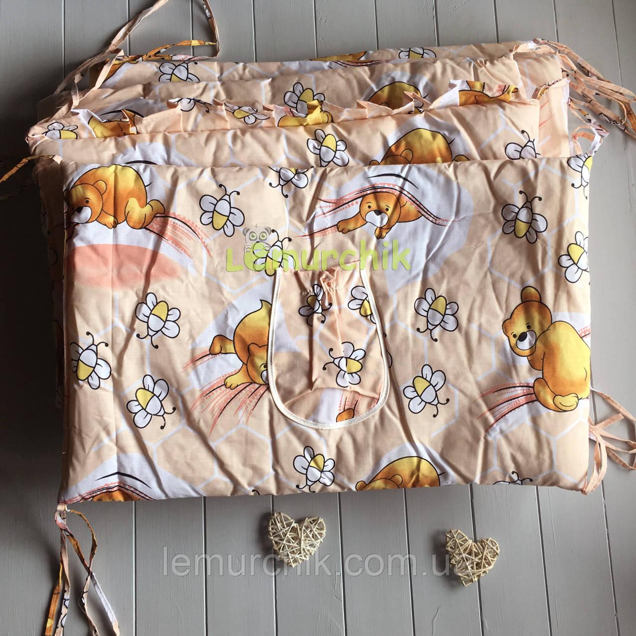 """Защита для детской кроватки 120х60 см, """"Мишки соты"""" персиковая"""
