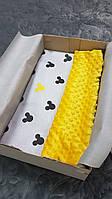 Плед Микки желтый плюш минки+ткань