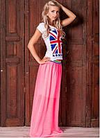 Женская летняя полупрозрачная юбка макси 316 Розовая