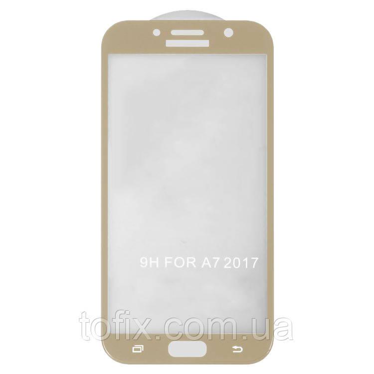 Защитное стекло 5D Full Glue на весь экран для Samsung Galaxy A7 (2017) A720, золотистый