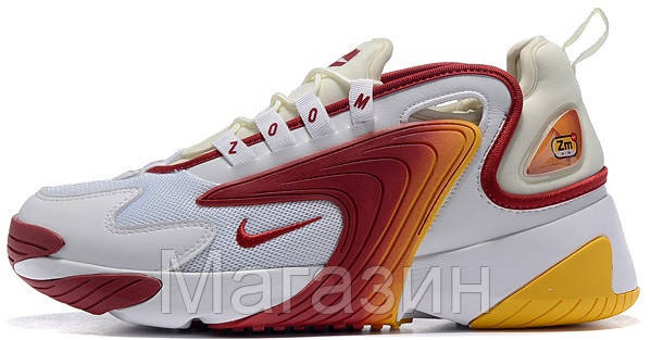 "Мужские кроссовки Nike Zoom 2K ""White/Red-Yellow"" (Найк Зум 2К) белые"