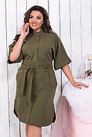 Платье женское Рубашка миди на пуговицах хакки Батал