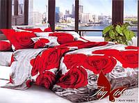 Полуторный комплект постельного белья с Розами, Поликоттон