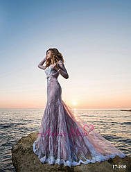 """Свадебное платье """"Русалка"""" с рукавами в пудровом цвете"""