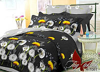 Полуторный комплект постельного белья с одуванчиками и цветами, Ранфорс