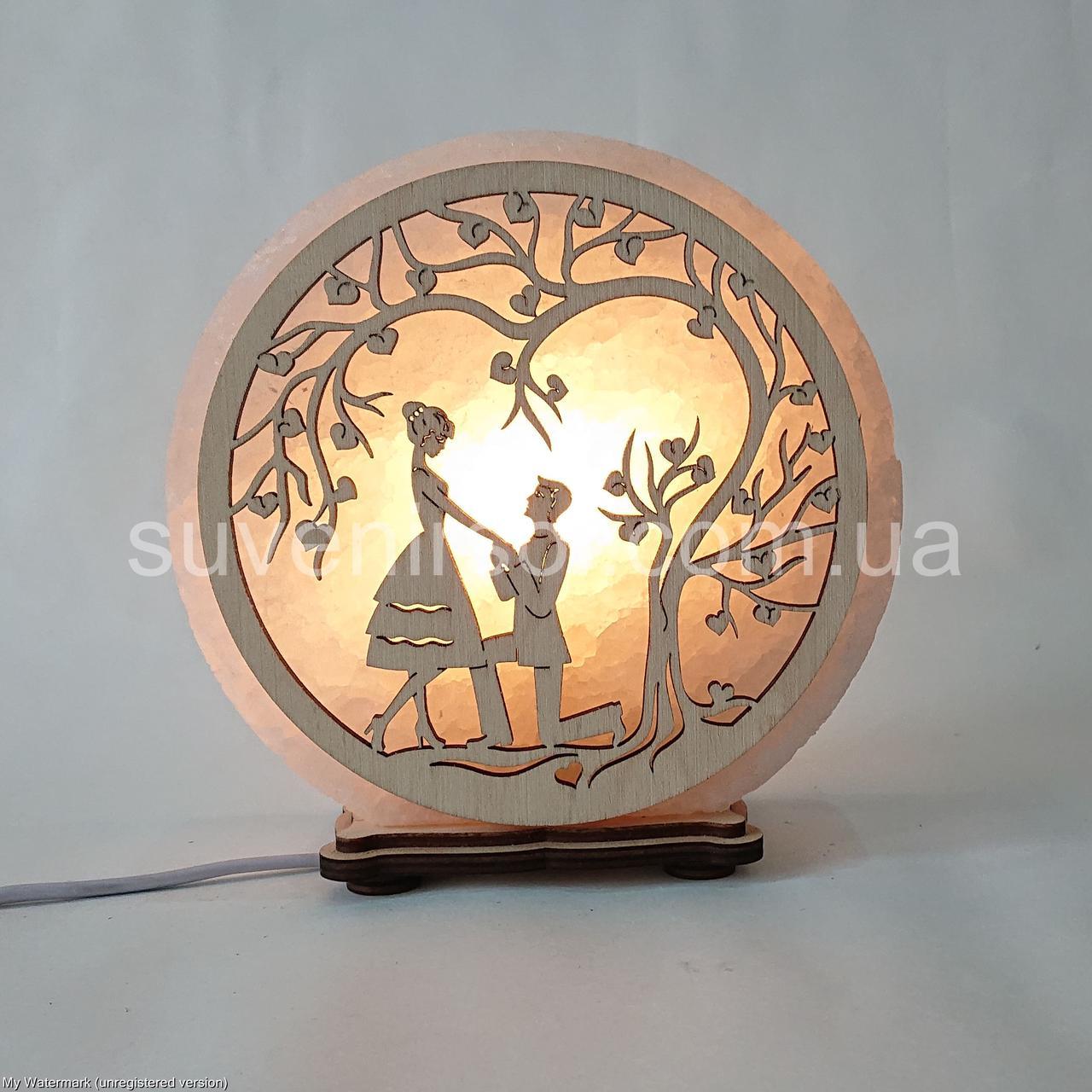 Соляной светильник круглый Любовь