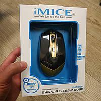 Беспроводная оптическая компьютерная мышка IMICE E-2350 1600dpi черно-золотистый, фото 1