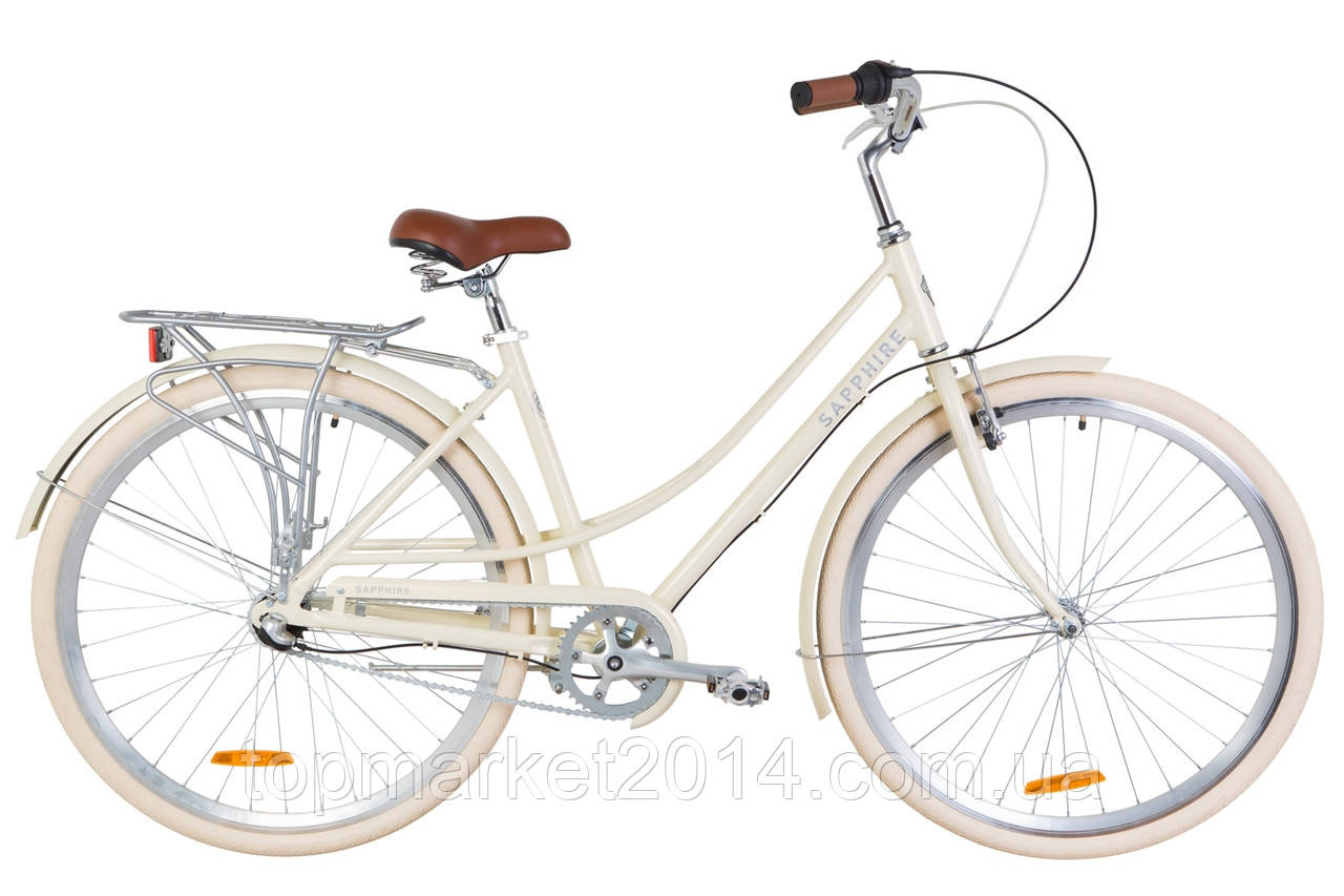 """Жіночий міський велосипед з багажником DOROZHNIK AL SAPPHIRE PH 28""""(бежевий)"""