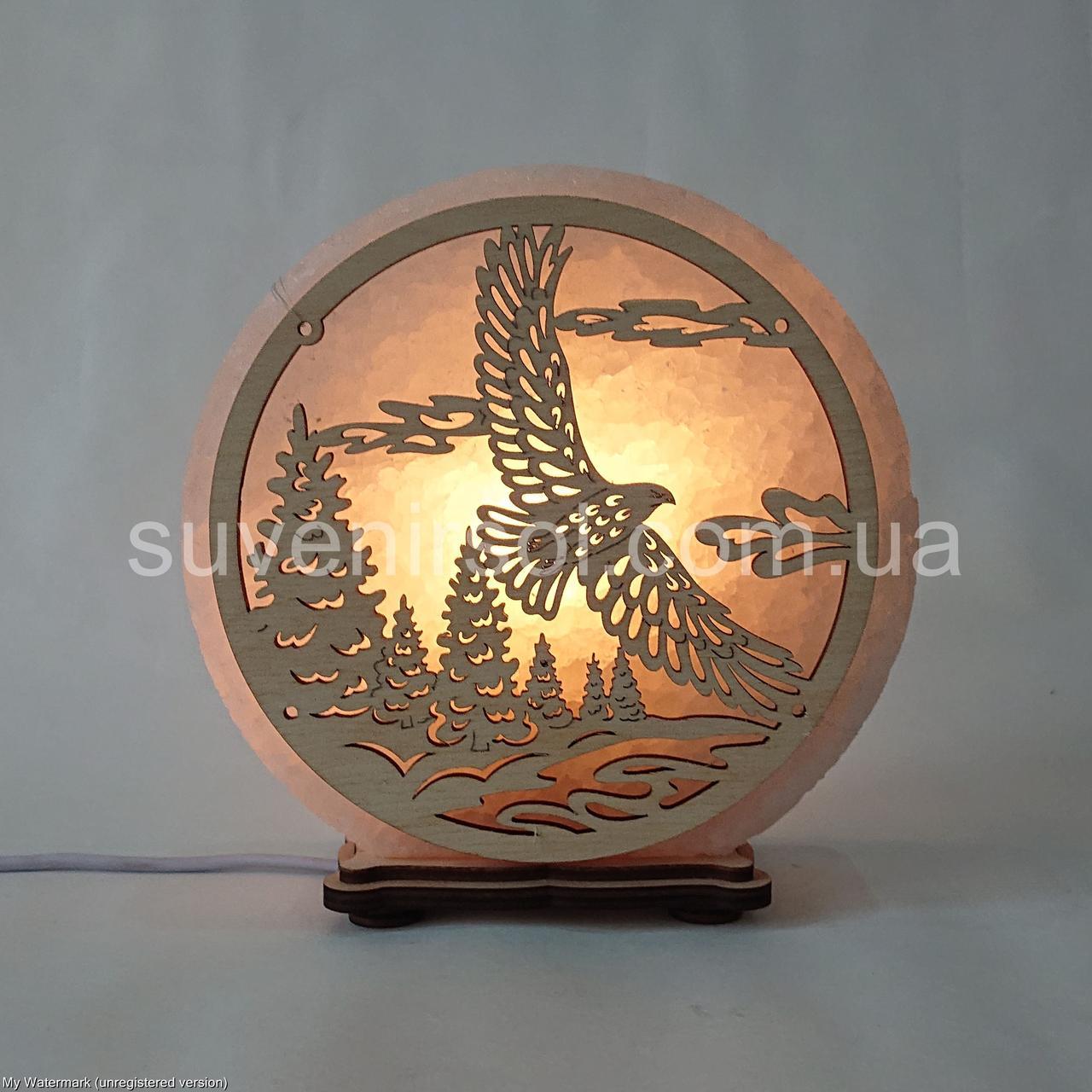 Соляний світильник круглий Орел і ліс