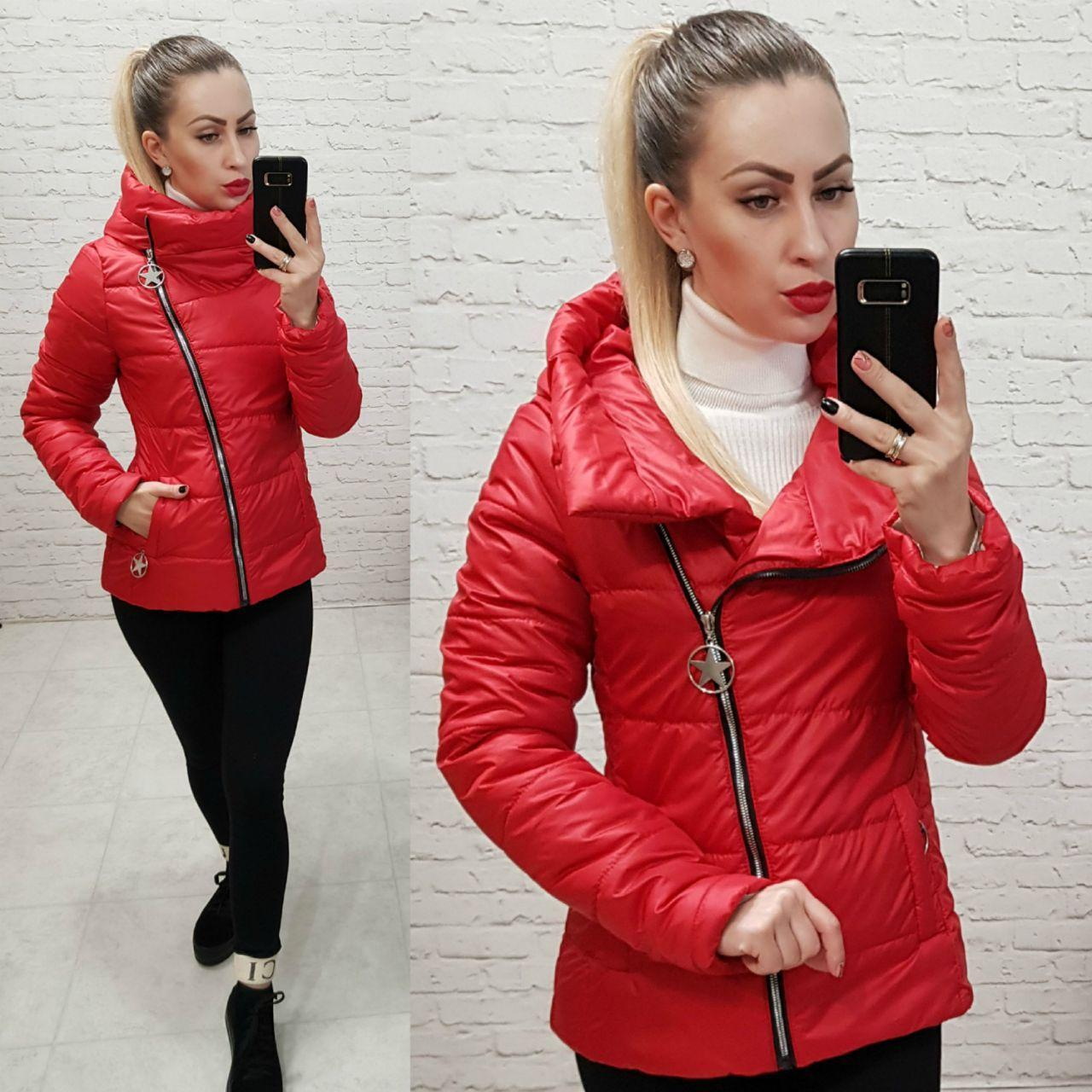 Куртка весна-осень с капюшоном, арт 501, цвет красный