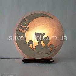 Соляной светильник круглый Коты на луне