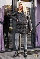 Donna-M Удлиненная уютная куртка с мехом енота Р 2327, фото 1