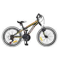 Спортивный велосипед 20 дюймов PROFI (KID G20A315-L-1-B) черно-оранжевый - на стальной раме