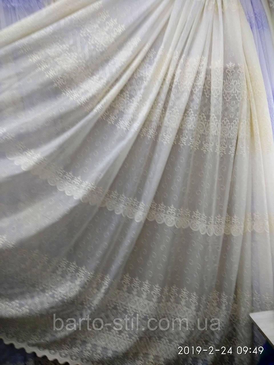 Кремовая тюль с вышивкой на батисте Оптом и на метраж Высота 2.8 м