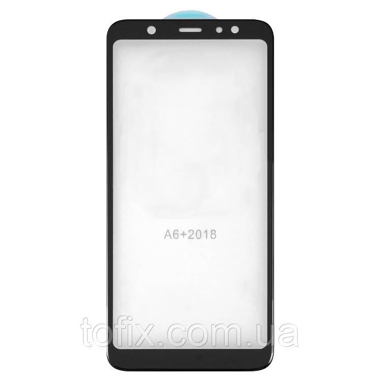 Защитное стекло 5D Full Glue на весь экран для Samsung Galaxy A6 Plus (2018) A605, черный