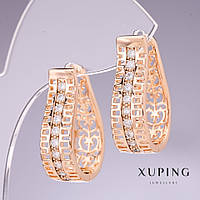 Серьги Xuping с белыми стразами 27х8мм позолота 18к