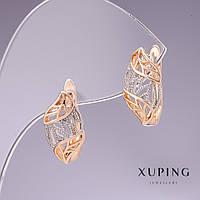 Серьги Xuping 16х14мм родий, позолота 18к