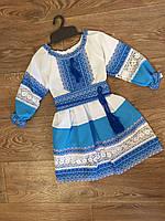 Платье вышитое для девочки с голубым орнаментом