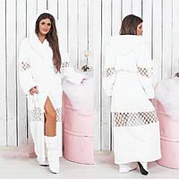 Махровый длинный белый халат с кружевом + сапожки (р.M-L)