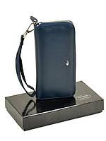 Женский кожаный кошелек-сумочка W38 dark-blue, фото 1