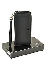 Женский кожаный кошелек-сумочка W38 black, фото 1