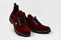 Туфли женские на шнурках из замши бордо
