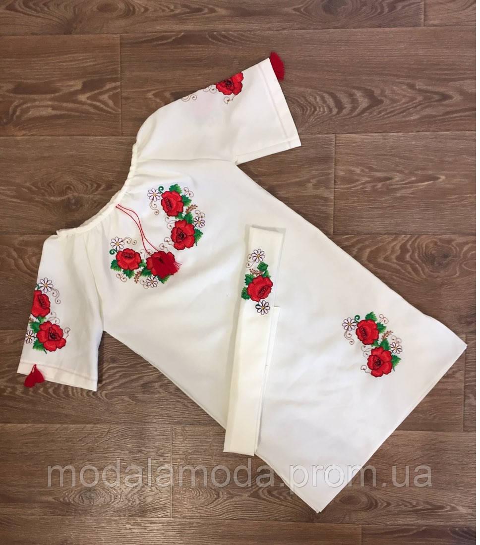 Платье вышитое для девочки с маками