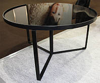 Стеклянный журнальный стол С-180 черный 70х70х40 Н