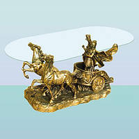 Журнальный стеклянный скульптурный стол, интерьерный кофейный столик Колесница