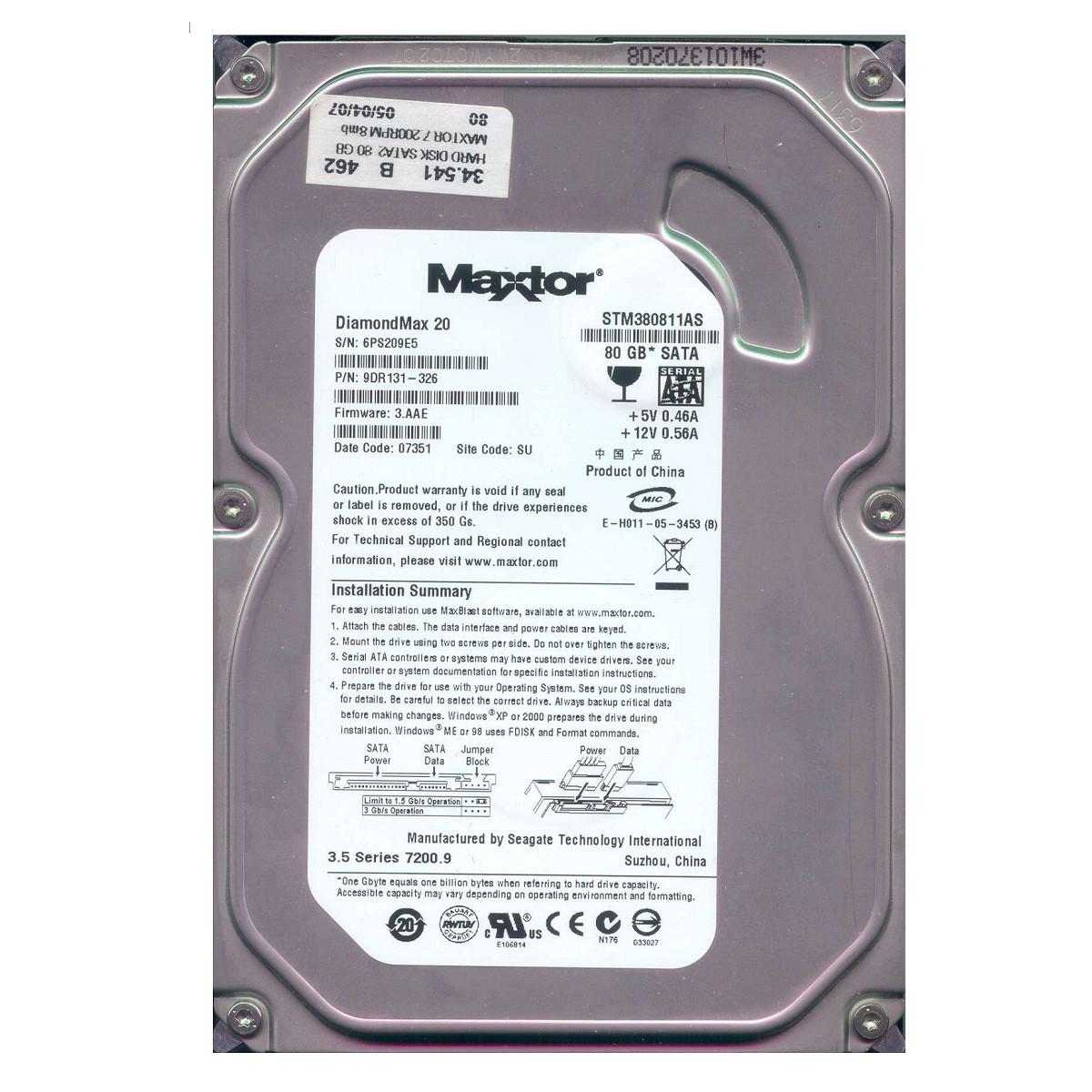 Жесткий диск Maxtor 80Gb SATA