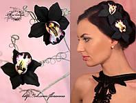 """""""Чёрная орхидея""""(1шт) заколка цветок из полимерной глины."""