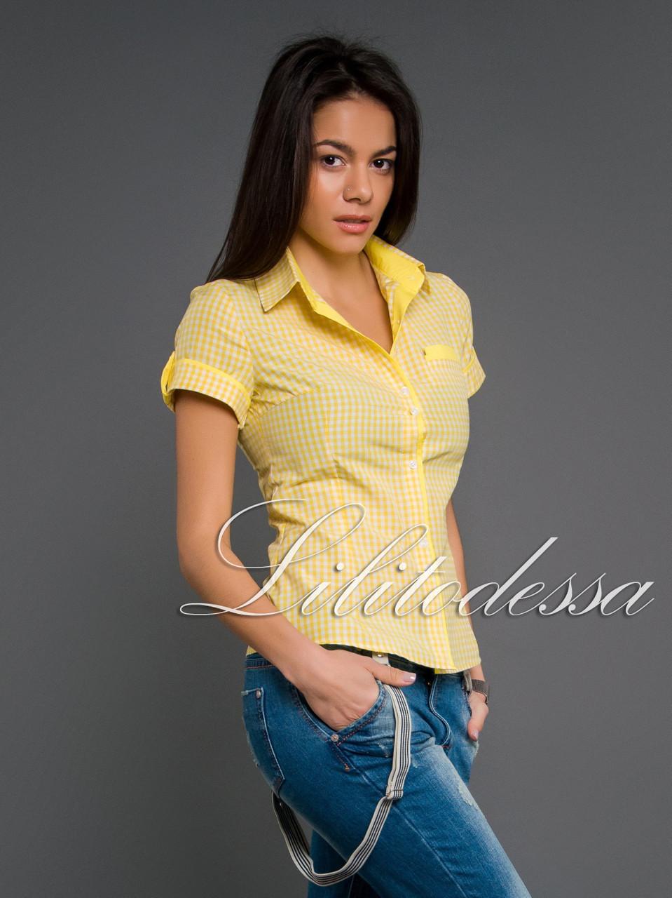 Рубашка клетка желтый