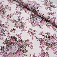 Тканина декоративна з тефлоновим просоченням з букетами рожево-фіолетових троянд, фото 1