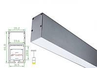 Алюминиевый профиль для светодиодной ленты 35х67мм c диффузором