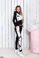 Спортивный костюм женский демисезонный черно-белый креп-дайвинг 42-48 размеров