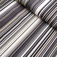 Ткань декоративная с тефлоновой пропиткой в серую, черную, белую полоску, ширина 180 см