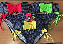 Купальник в горошек для девочек яркий с бантиком 205-13