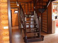 Сходи дерев'яні на замовлення, сходи для дому темні Луцьк, Рівне, Вінниця, Житомир, Київ