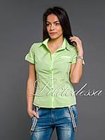 Рубашка клетка салатовый, фото 1