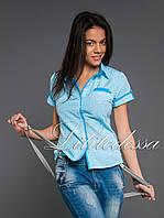 Рубашка клетка голубой, фото 1